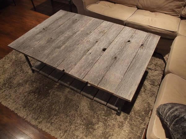 handmade wooden pallet and steel coffee table