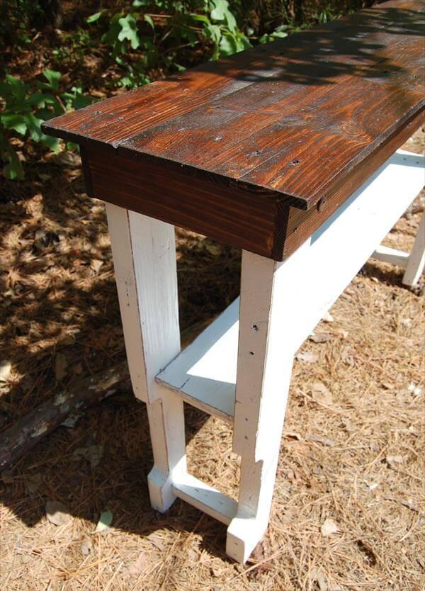 wooden pallet white and brown sofa table and entryway table