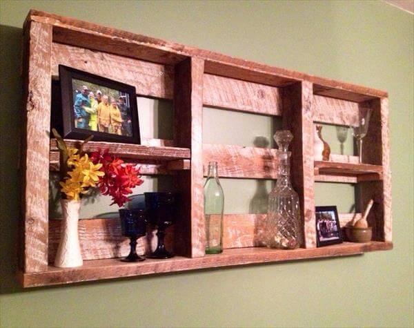 wooden pallet wall hanging shelf