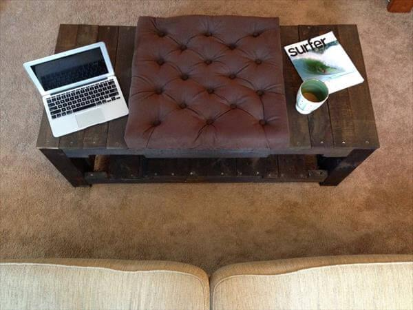 solid dark stained pallet tufted coffee table