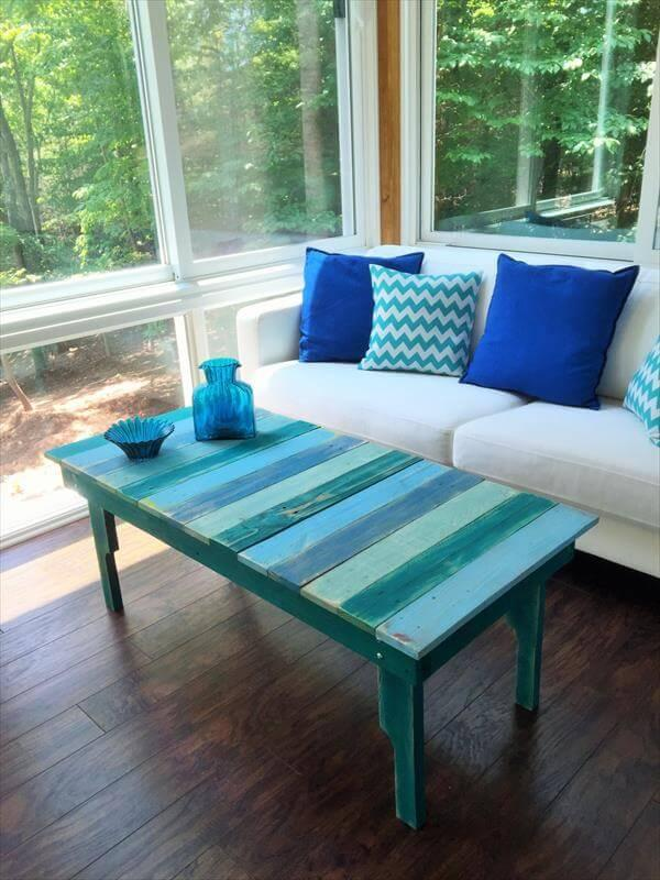 Diy Turquoise Painted Pallet Coffee Table 101 Pallets