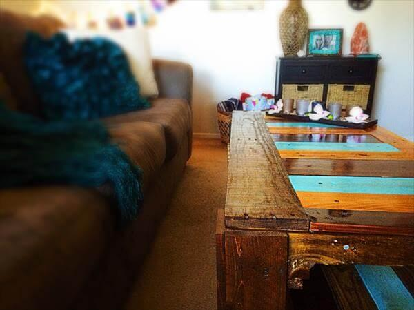 recycled pallet and fence wood coffee table