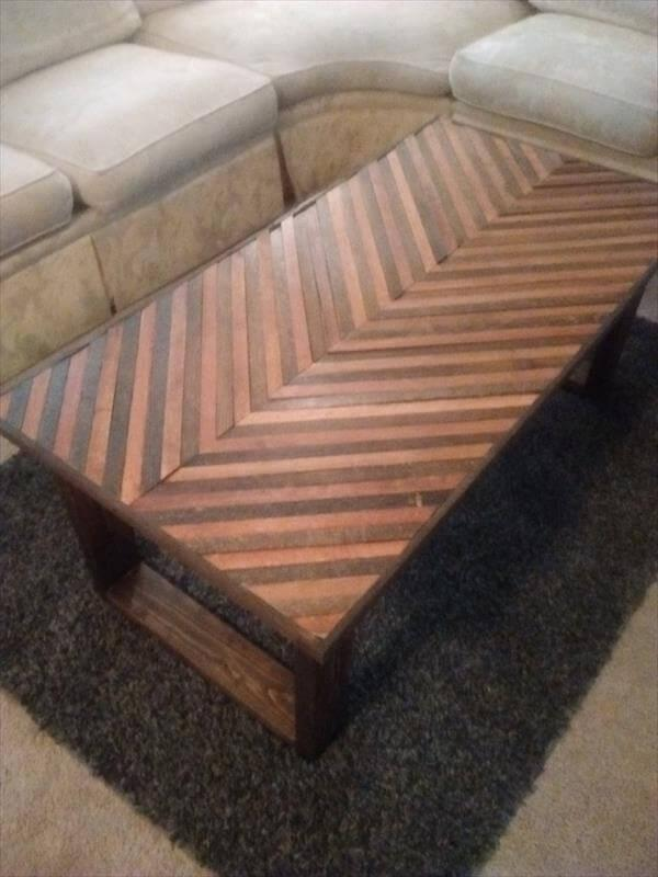 reclaimed pallet chevron coffee table with flat wooden legs