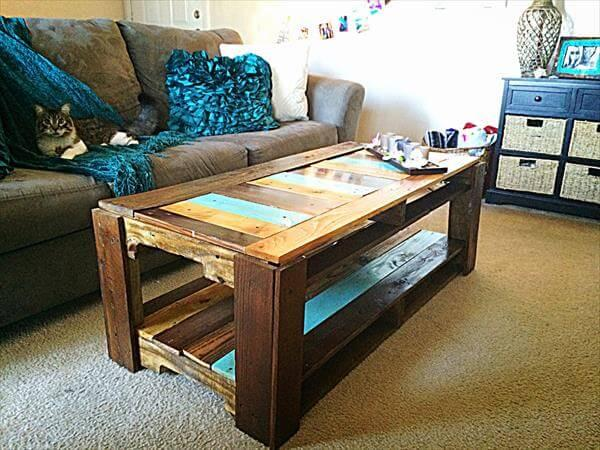 wooden pallet and fence wood coffee table