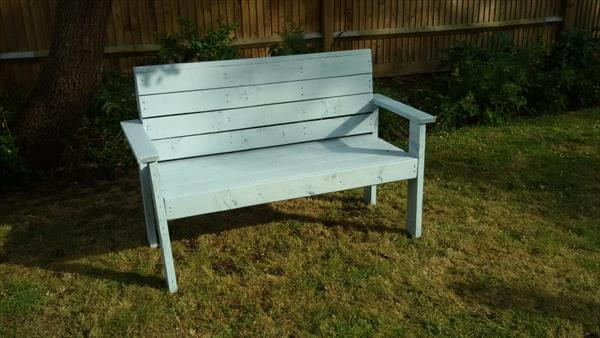 recycled pallet painted garden bench