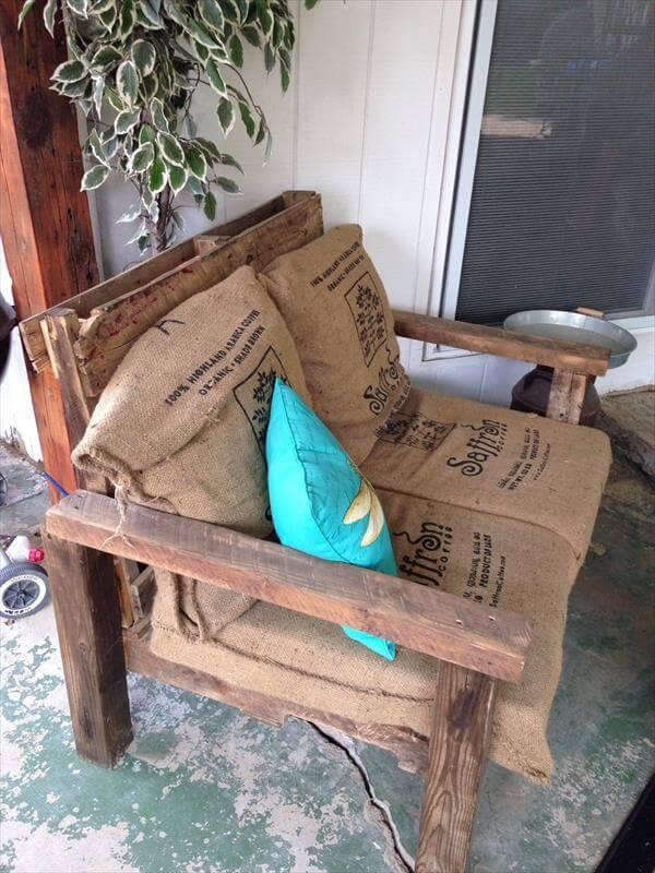 reclaimed pallet XL chair with burlap sack cushion
