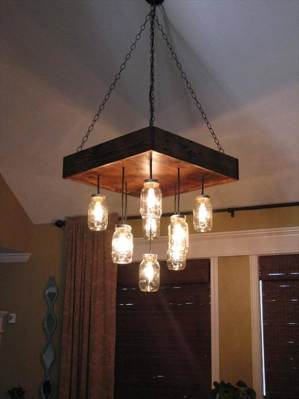reclaimed and pallet and Mason jars chandelier