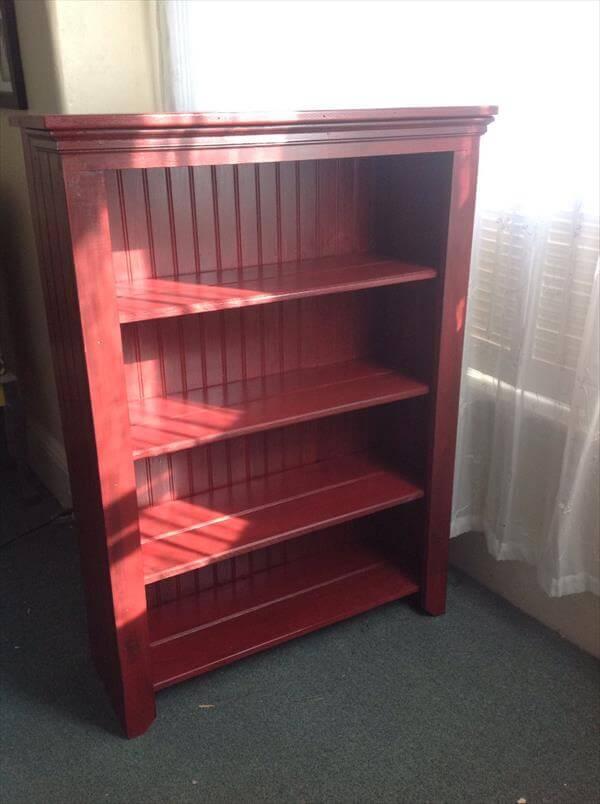 reclaimed pallet and beadboard bookshelf