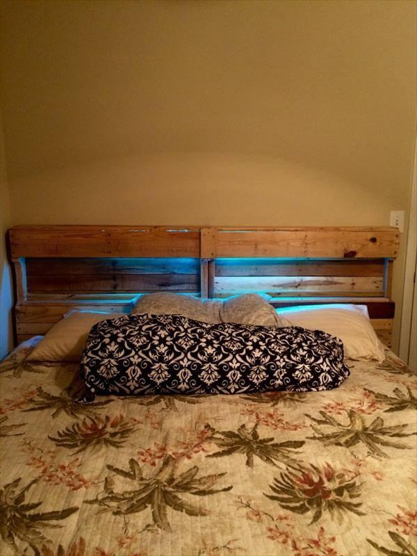 reclaimed pallet bed and headboard with blue LED lights