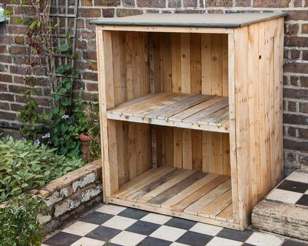 wooden pallet garden storage unit