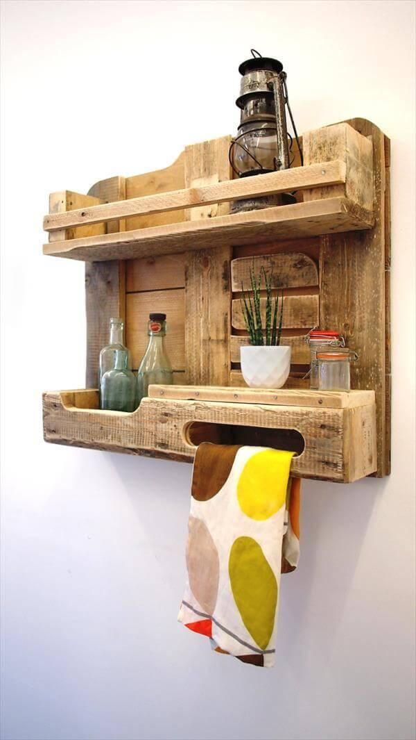 Diy Pallet Wood Kitchen Shelf Wall Unit 101 Pallets