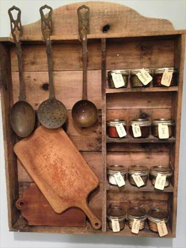 Vintage Inspired Pallet Kitchen Spice Rack 101 Pallets