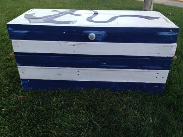 repurposed pallet nautical toy chest