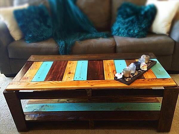 handcrafted pallet and fence wood coffee table
