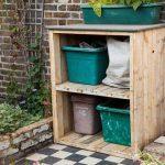 wooden pallet garden bin storage and garden storage unit