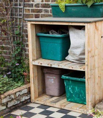 wooden pallet garden bin storage and garden storage unit