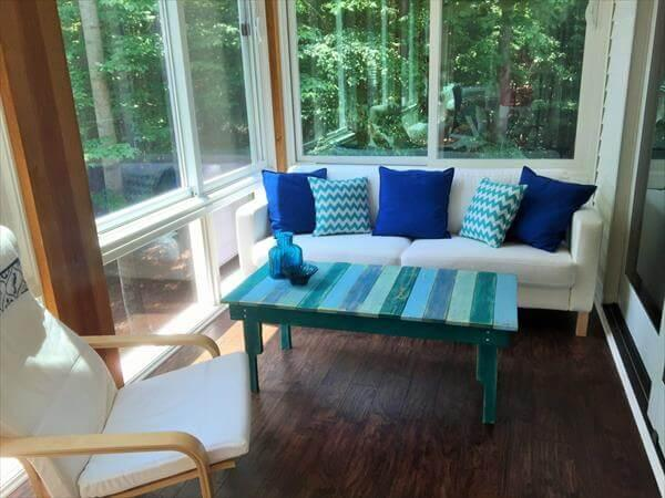 wooden pallet turquoise coffee table