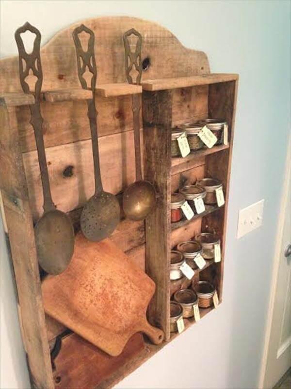 wooden pallet rustic kitchen spice rack