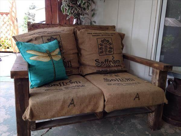 diy pallet oversize chair with burlap sack cushion