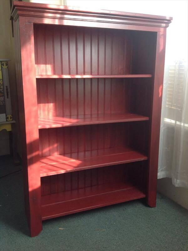 upcycled pallet and beadboard bookcase