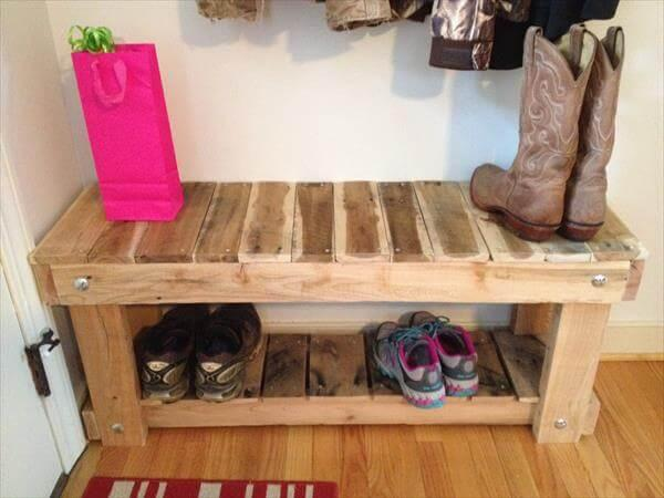 Handcrafted Pallet Bench And Shoes Rack