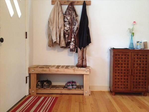 diy pallet entryway bench with shoes rack