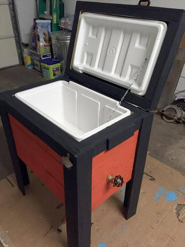 upcycled wooden cooler and ice chest