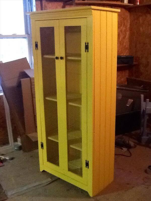 handcrafted pallet painted wardrobe armoire and kitchen cabinet