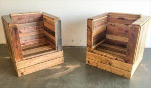 Recycled pallet bistro style arm chairs