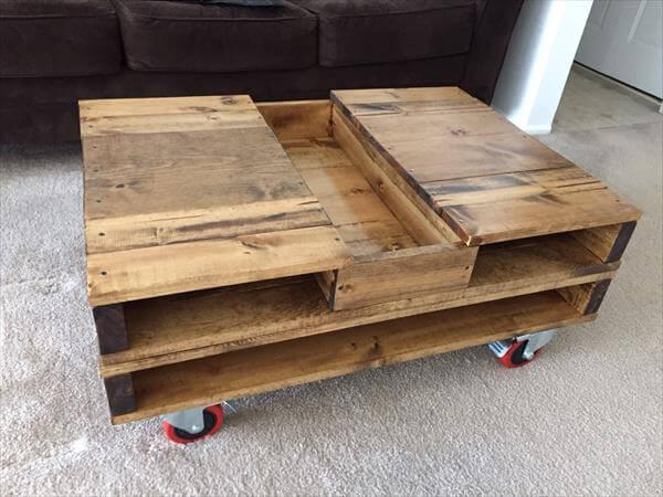 Diy Pallet Coffee Table With Storage And Wheels 101 Pallets