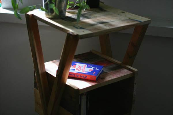 recycled pallet x-frame side table