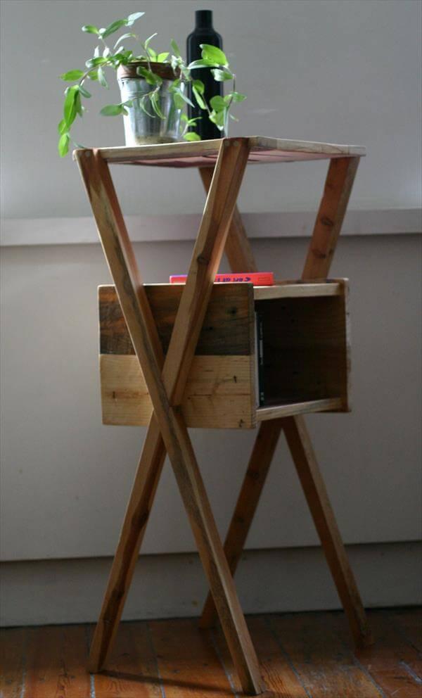 wooden pallet x-frame side table
