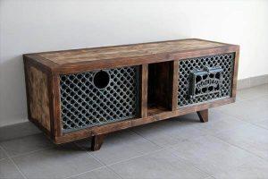 Pallet and Wood burning Stove GODIN TV Cabinet
