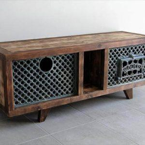 wooden pallet and wooden stove media cabinet