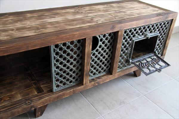 Pallet and Wood burning Stove GODIN TV Cabinet - 101 Pallets