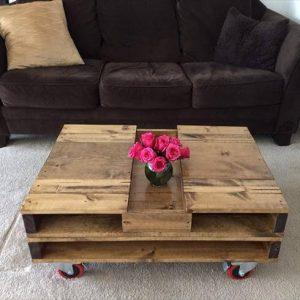 wooden pallet coffee table with storage box inlay