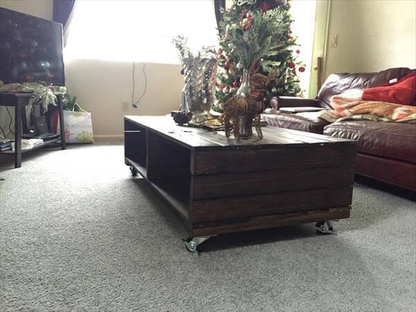 Repurposed pallet black painted coffee table