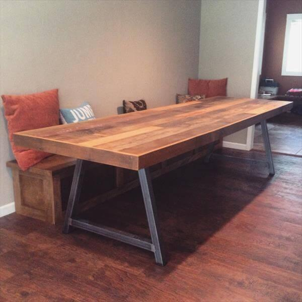 wooden pallet A-frame conference table