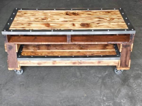 repurposed pallet console table with trimmed metal sides