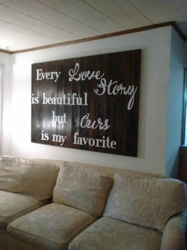 Recycled pallet king size headboard for wall art