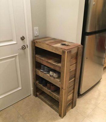 handmade wooden pallet shoes rack