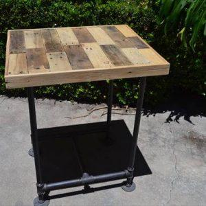 upcycled pallet wood and metal pipe side table