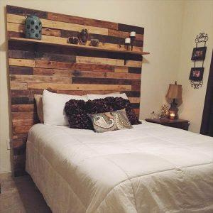 DIY Pallet headboard With Display Shelf