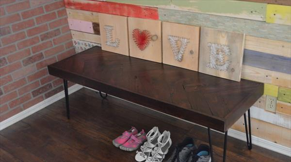 Recycled Pallet Console Desk With Hairpin Legs 101 Pallets