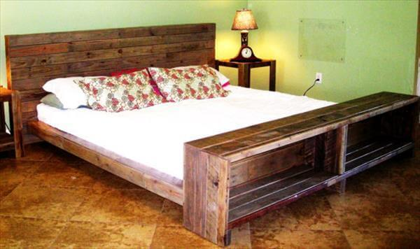 handmade wooden pallet bed with storage