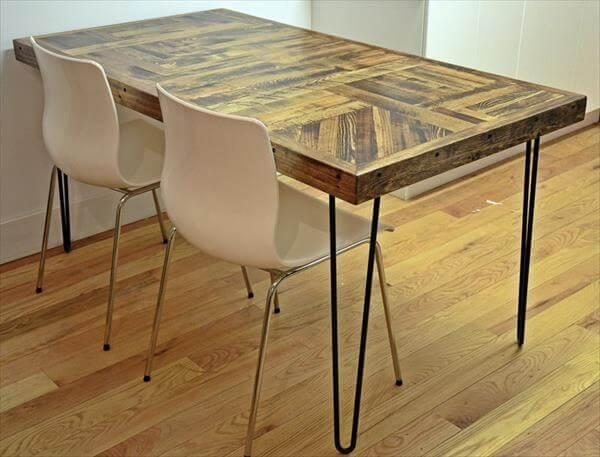 Handmade Wooden Pallet Kitchen Dining Table With Metal Hairpin Legs Advers