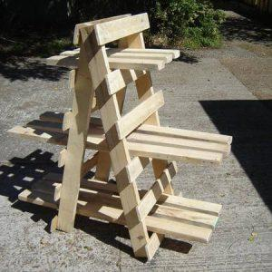 handmade wooden pallet ladder style display unit