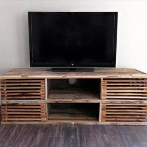 rustic wooden pallet slatted media console table