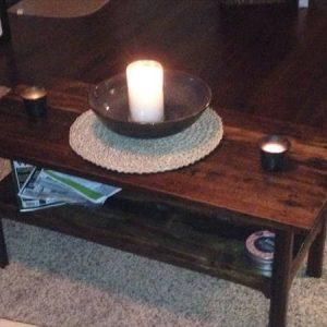repurposed pallet dark stained coffee table