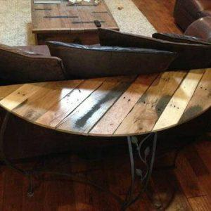 handmade wooden pallet and metal sofa table